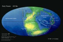 三叠纪早期地球海陆分布图